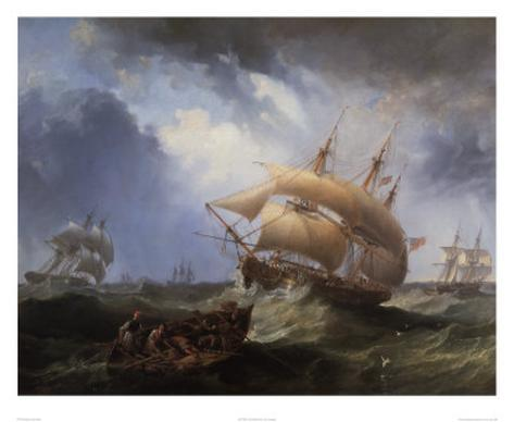 Shipping in the Open Sea Art Print
