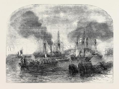 The Bombardment of Sveaborg: French Gun Boats Going to the Battery with Shot and Shell Lámina giclée