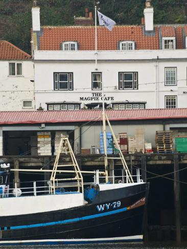 Fishing Boats in Whitby Harbour with Famous Magpie Cafe in Background, Yorkshire, England Photographic Print