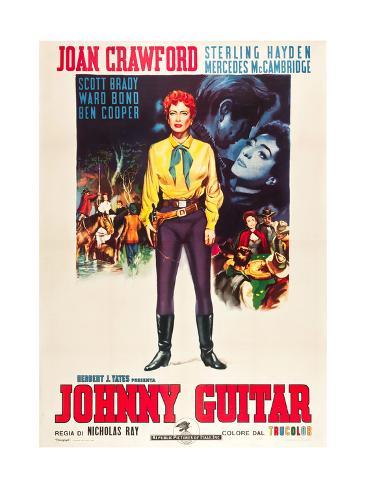 JOHNNY GUITAR, Joan Crawford on Italian poster art, 1954. Art Print