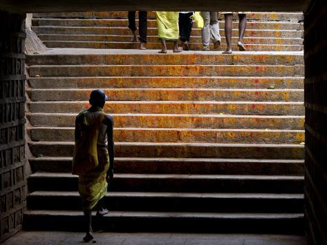 Pilgrim Walking the Stairs from Tirupathi to Tirumala Photographic Print