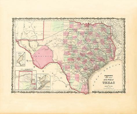 Map of the State of Texas, 1862 Premium Giclee Print