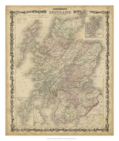 Johnson's Map of Scotland Giclee Print