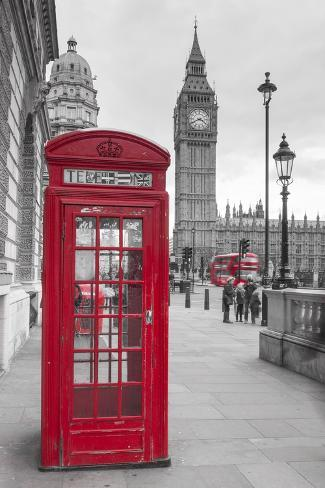 Big Ben, Houses of Parliament and a Red Phone Box, London, England Valokuvavedos