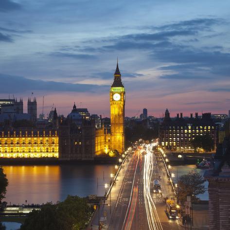 Big Ben, Houses of Parliament and Westminster Bridge, London, England, Uk Photographic Print