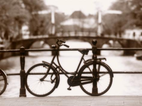 Bike on Bridge and Canal, Amsterdam, Holland Photographic Print