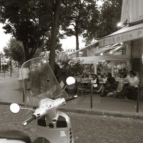 Cafe, Quai De L'Hotel De Ville, Marais District, Paris, France Photographic Print