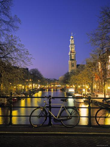 Prinsengracht and Wsterkerk, Amsterdam, Holland Photographic Print
