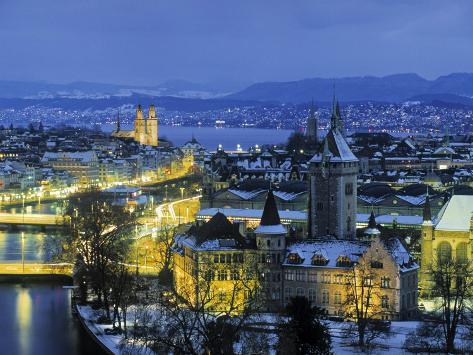 Skyline of Zurich, Switzerland Photographic Print