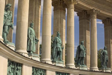 Bronze Statues of Hungarian Kings in Heroes' Square Photographic Print