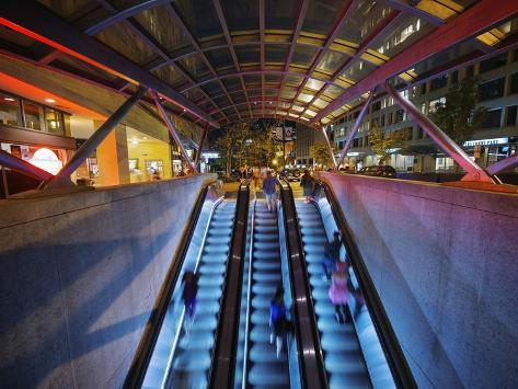 Escalators at the Entrance to a Washington DC Metro Station. Photographic Print