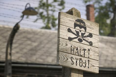Halt Sign in KL Auschwitz I Photographic Print