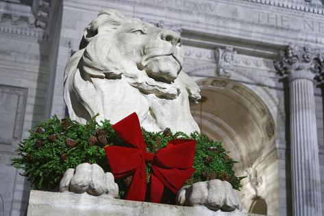 New York Public Library Lion Decorated with a Christmas Wreath during the Holidays. Photographic Print