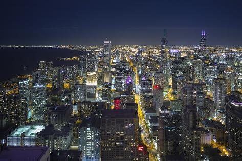 The Chicago Skyline from the John Hancock Center at Night Photographic Print