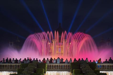 The Magic Fountain Light Show in Front of the National Palace, Barcelona. Photographic Print