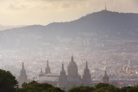 The National Palace from Montjuic, Barcelona. Photographic Print