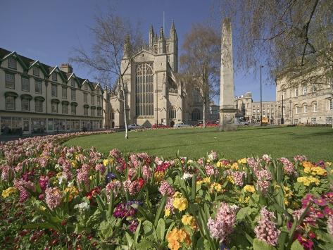 Gardens on East Side of Bath Abbey Photographic Print