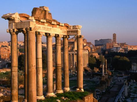 Eight Granite Columns, All That is Left of Tempio Di Saturno, Rome, Italy Photographic Print