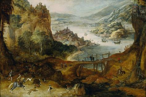 River Landscape with Boar Hunt Art Print
