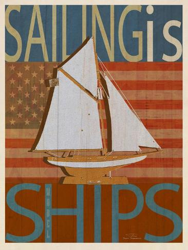 Sailing Is Model Ships Columbia Stampa giclée premium