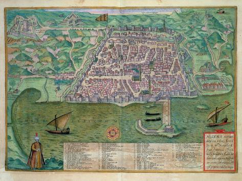 Map of Algiers, from Civitates Orbis Terrarum by Georg Braun Giclee Print