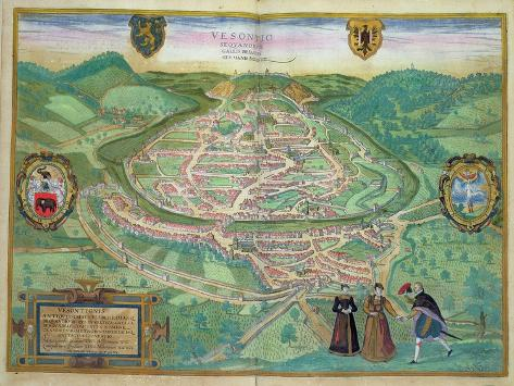 Map of Besancon, from Civitates Orbis Terrarum by Georg Braun Giclee Print