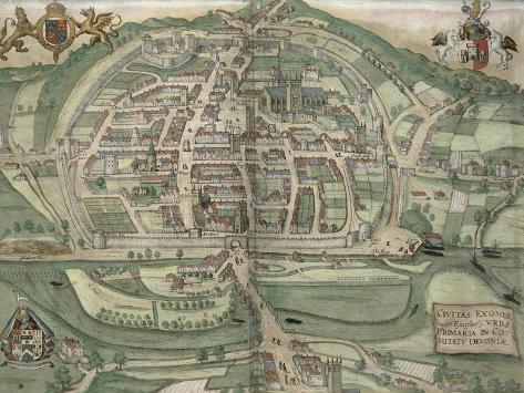 Map of Exeter, from Civitates Orbis Terrarum by Georg Braun Giclee Print