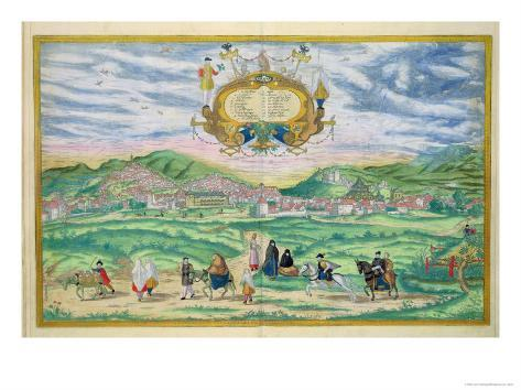 Map of Granada, from Civitates Orbis Terrarum by Georg Braun Giclee Print