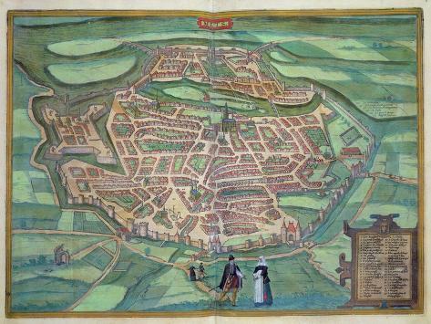 Map of Metz, from Civitates Orbis Terrarum by Georg Braun Giclee Print