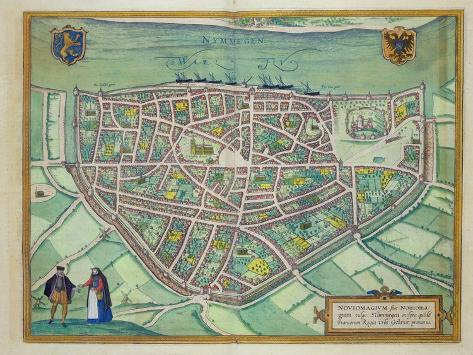 Map of Nijmegen, from 'Civitates Orbis Terrarum' by Georg Braun Giclee Print