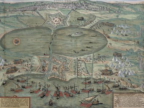 Map of Tunis, from Civitates Orbis Terrarum by Georg Braun Giclee Print