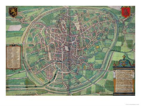 Town Plan of Brussels, from Civitates Orbis Terrarum by Georg Braun Giclee Print