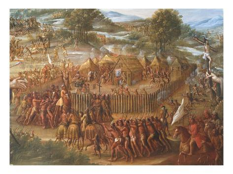 Indian Village, from the Destruction of the San Saba Misson in Texas and the Martyrdom of Fathers Stretched Canvas Print