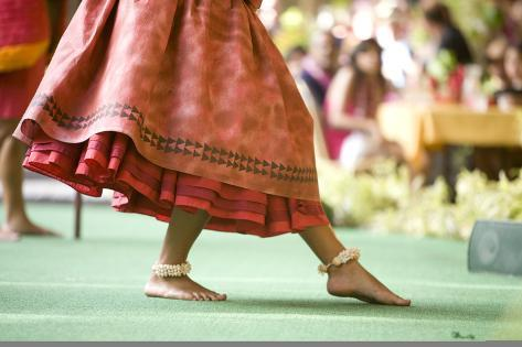 Close up of a Hula Dancer on a Stage, Focus on the Her Feet. Photographic Print