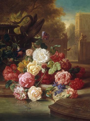 Still Life with Roses, Carnations and a Bohemian Castle in the Background, 1868 Lámina giclée