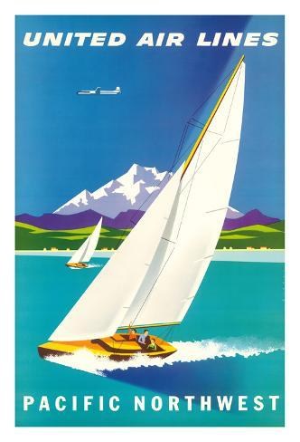 Pacific Northwest - United Air Lines - Sailboats and Snow Capped Glacier Mountains Giclee Print