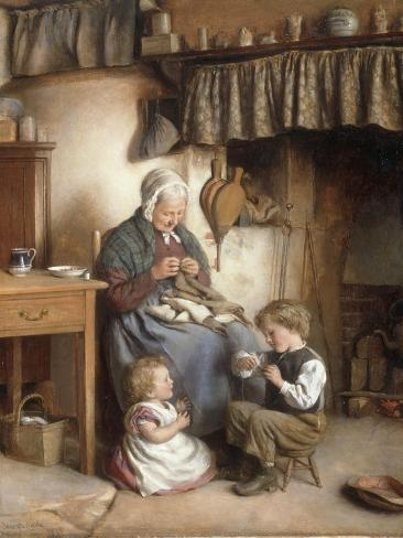 Helping Grannie, 1878 Lámina giclée