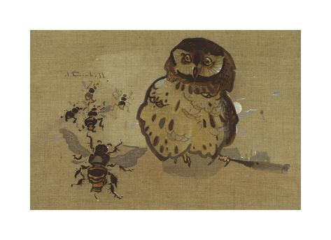 Owl And Bee Premium Giclee Print