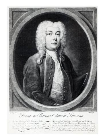Francesco Bernardi Senesino, Engraved by Elisha Kirkall Giclee Print