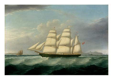 The Barque Elizabeth Martin off the Skerries, with South Stack and Carmel Head Giclee Print