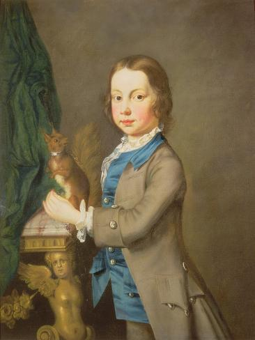 A Portrait of a Boy with a Pet Squirrel, 18th century Lámina giclée