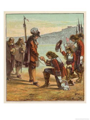 Charles II Lands at Dover and is Saluted as King of England by General Monk Who Kneels Before Him Giclee Print