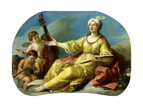A Personification of Music, Singing with Putti Playing a Viol and a Flute, 1758 Lámina giclée