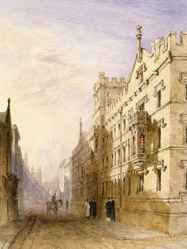 Exeter College, Oxford, 1835 (W/C with Graphite and Gum on Paper) Giclee Print