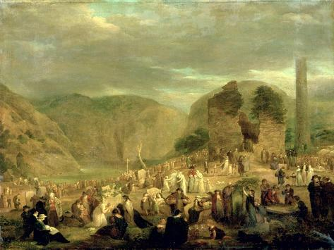 All Souls' Day in the Churchyard at Glendalough Giclee Print