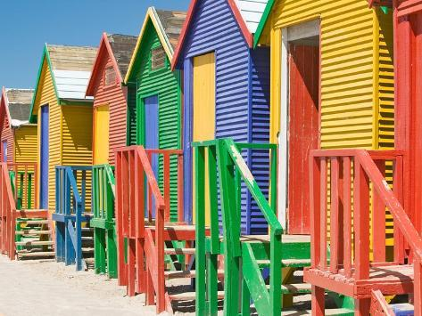 Colored Beach Huts Photographic Print