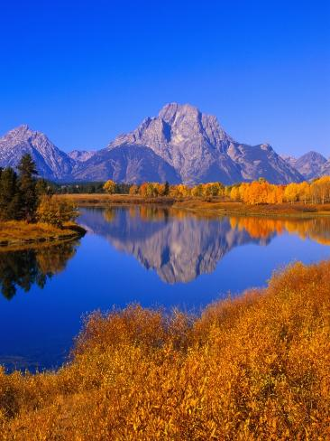 Oxbow Bend Reflecting Mount Moran Photographic Print