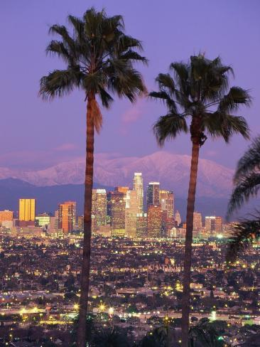 Two Palm Trees with Distant Los Angeles Photographic Print