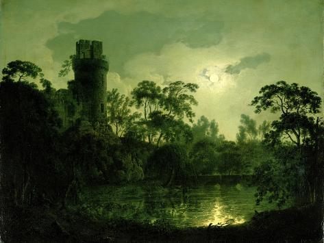 A Moonlit Lake by a Castle Giclee Print