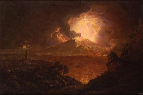 A View of Vesuvius Erupting by Night Impressão giclée